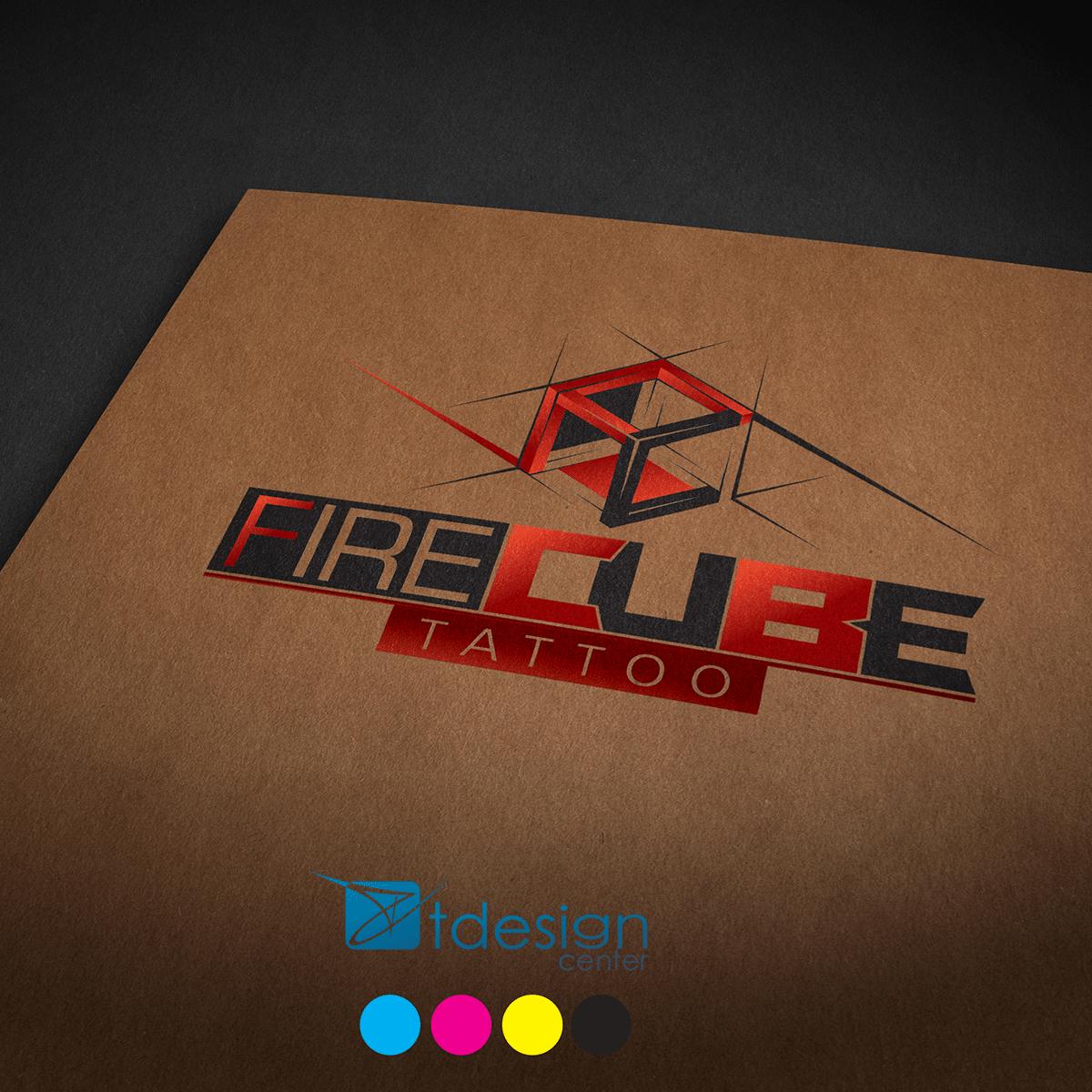 Logo stworzone dla studia tatuażu Fire Cube Tattoo