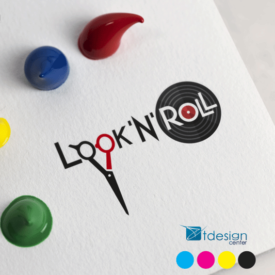 Logo stworzone dla salonu fryzjerskiego Look'n'Roll