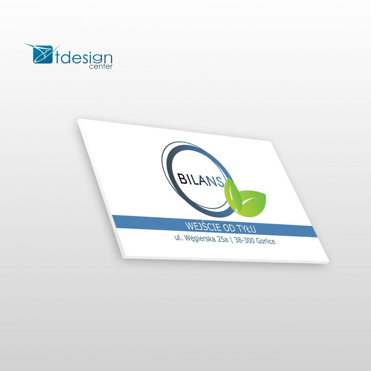 Tablica DIBOND, rozmiar: 35x20cm, projekt oraz realizacja dla firmy Bilans