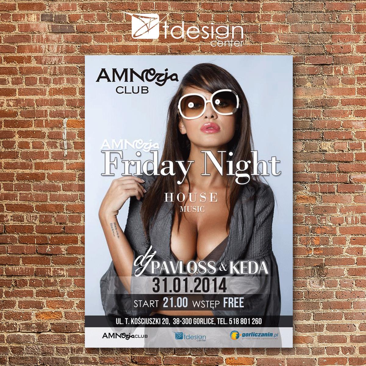 Plakat A3, projekt wykonany dla klubu Amnezja