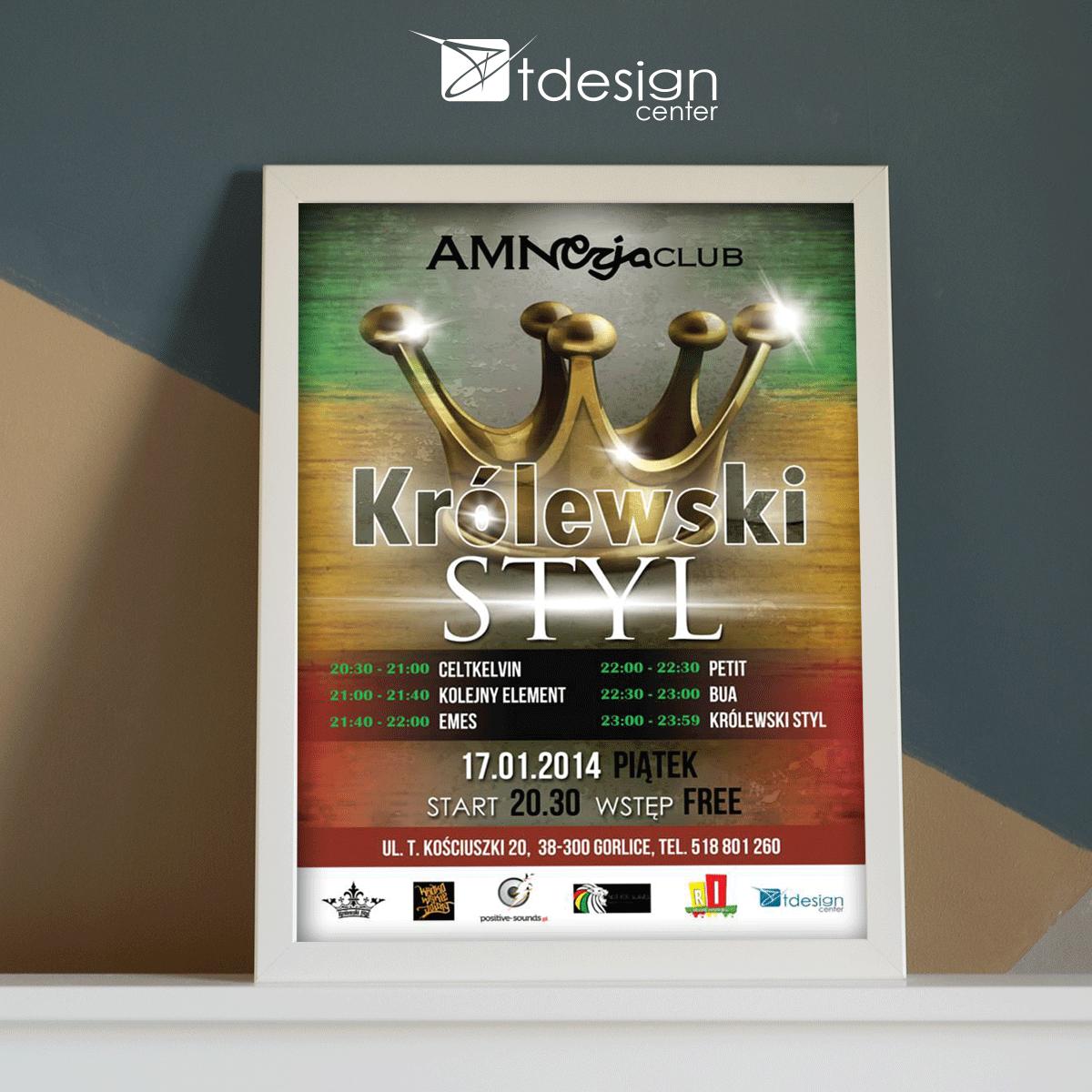 Plakat, projekt wykonany dla klubu Amnezja