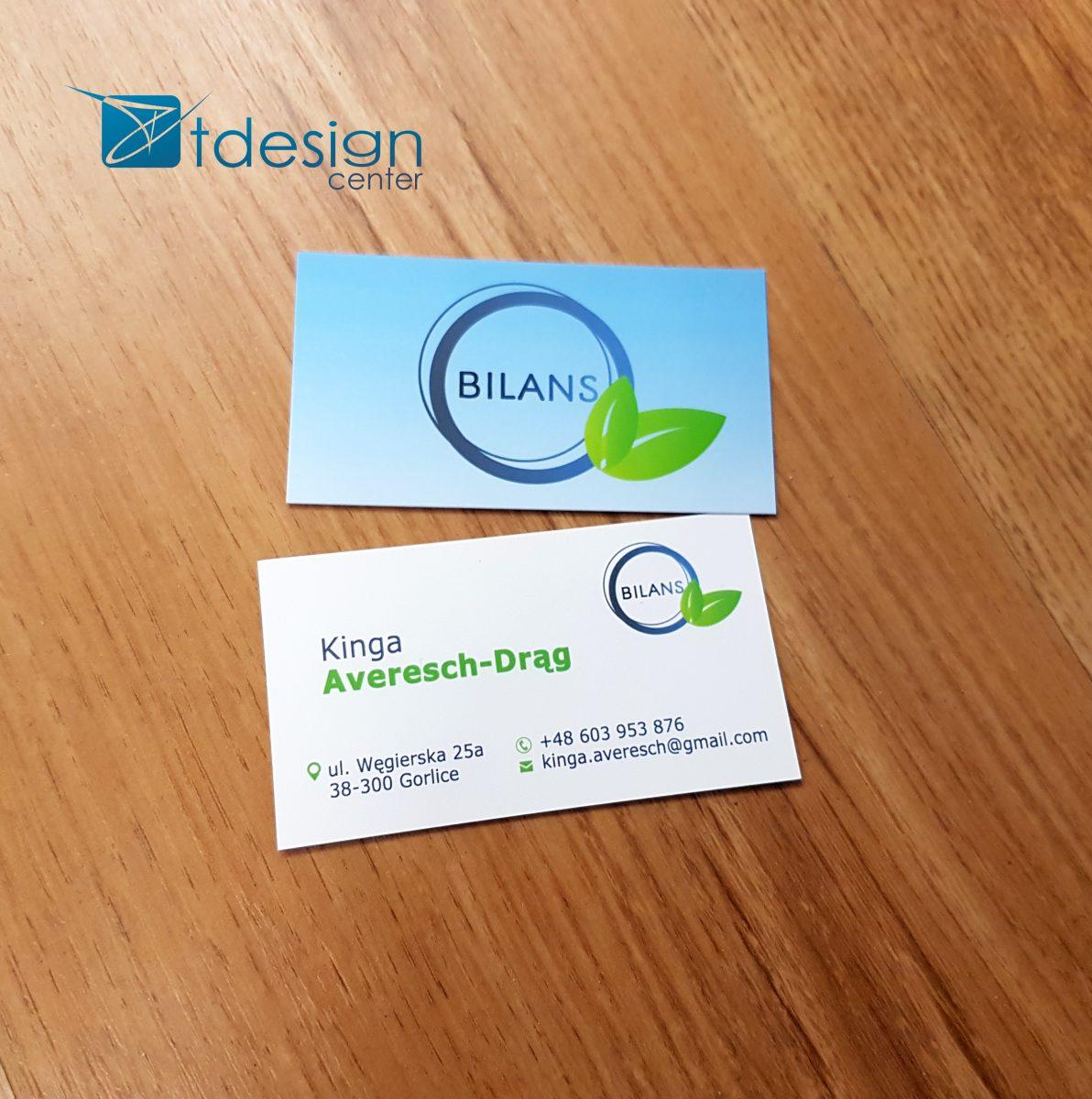 Wizytówki wykonane dla firmy Bilans - projekt +druk