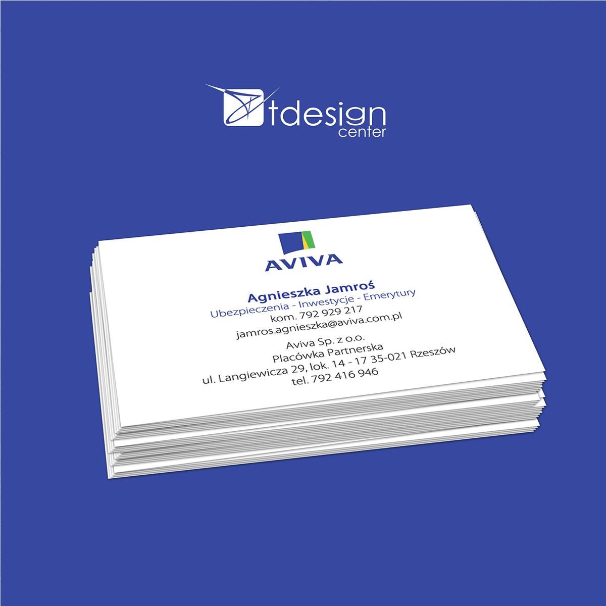 Wizytówki 90x50m, druk wykonany dla firmy Aviva