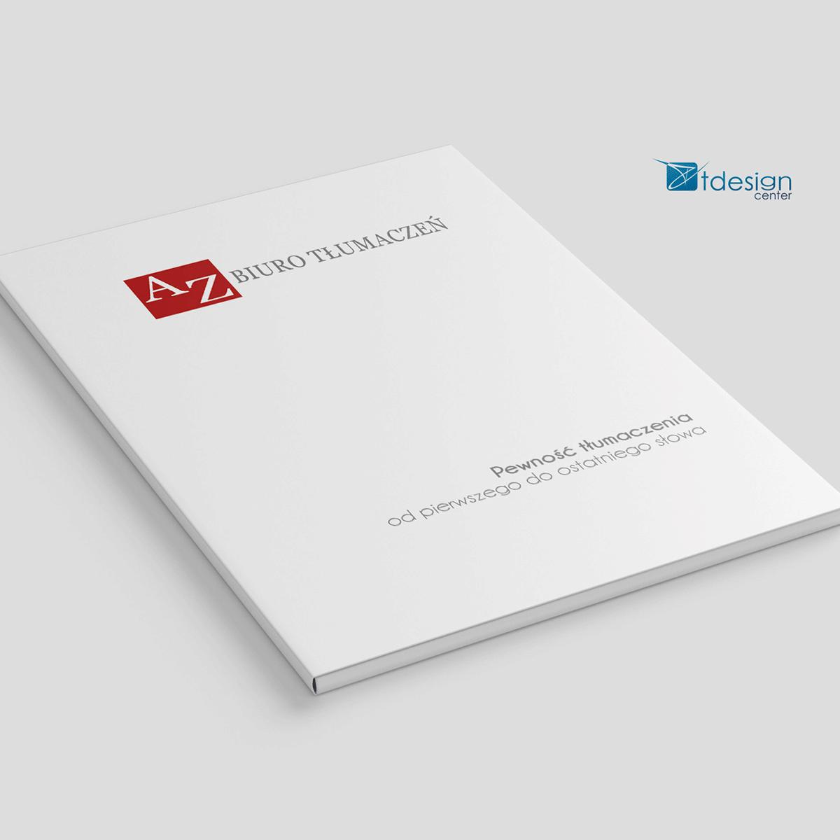 Teczka A4, projekt + druk, realizacja dla biura tłumaczeń AZ