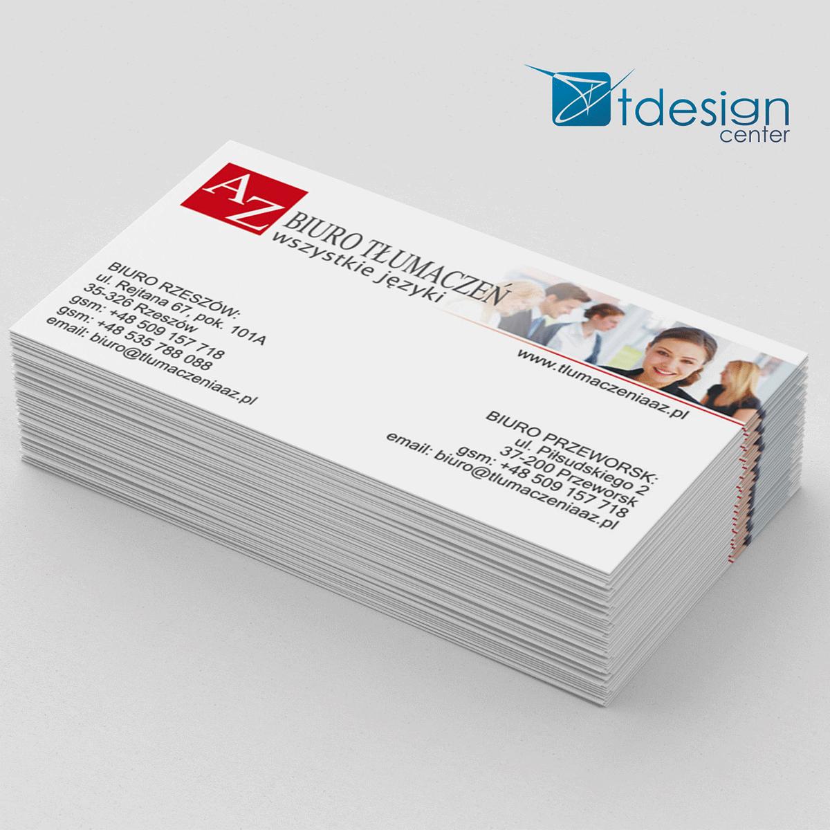 Wizytówka 90x50mm, projekt + druk, realizacja dla biura tłumaczeń AZ