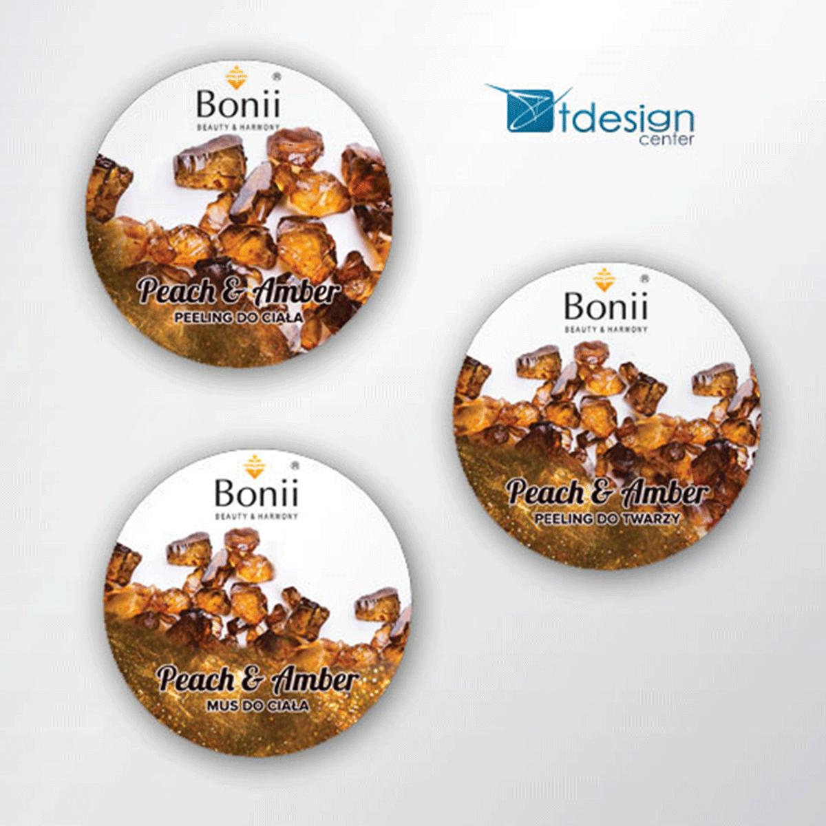 Naklejki 60x60mm, projekt + druk, realizacja dla firmy Bonii