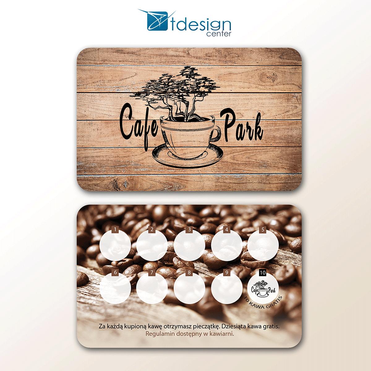 Karty biznesowe 85x54mm, projekt + druk, realizacja dla CafePark