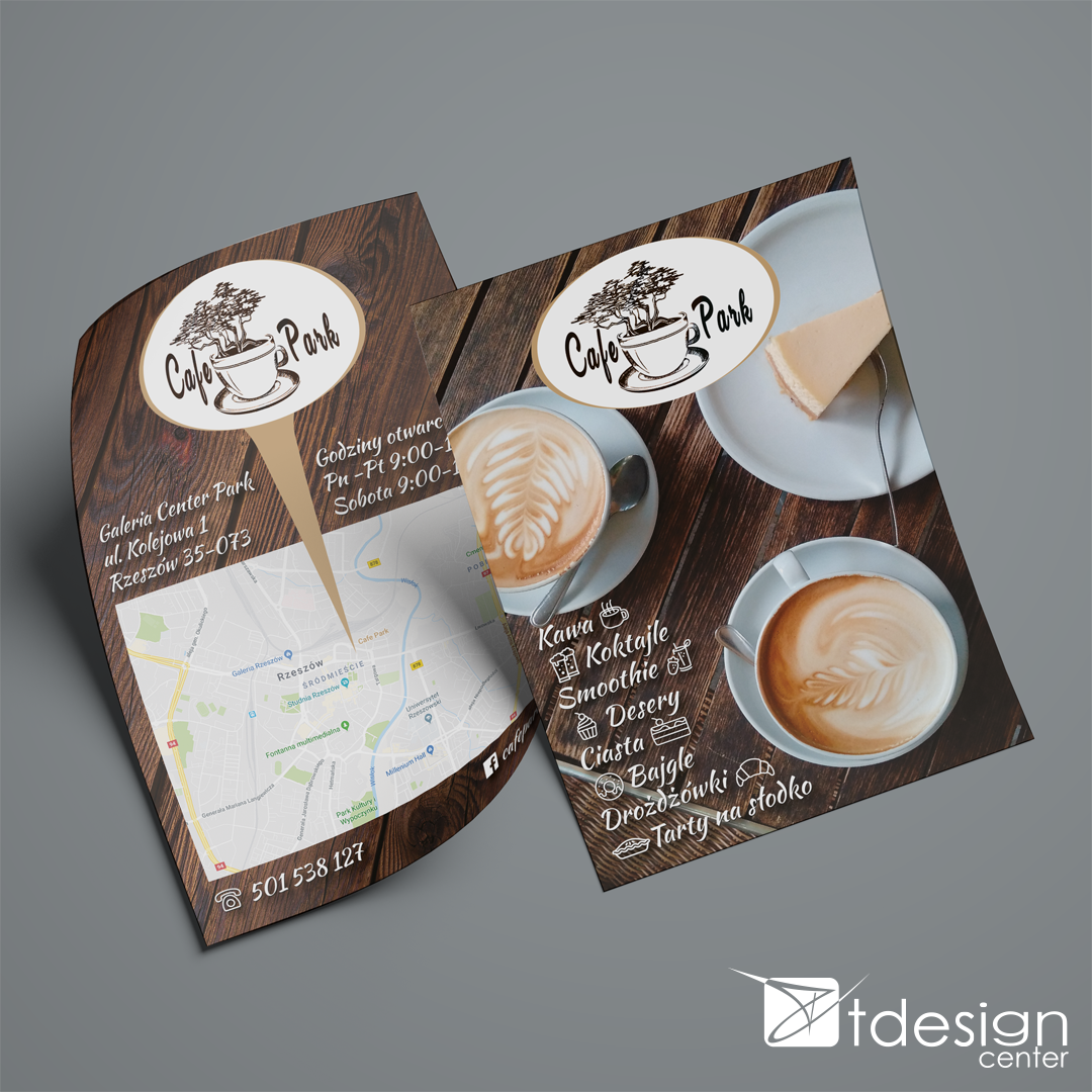 Ulotka A5, projekt + druk, realizacja dla restauracji Cafe Park w Rzeszowie