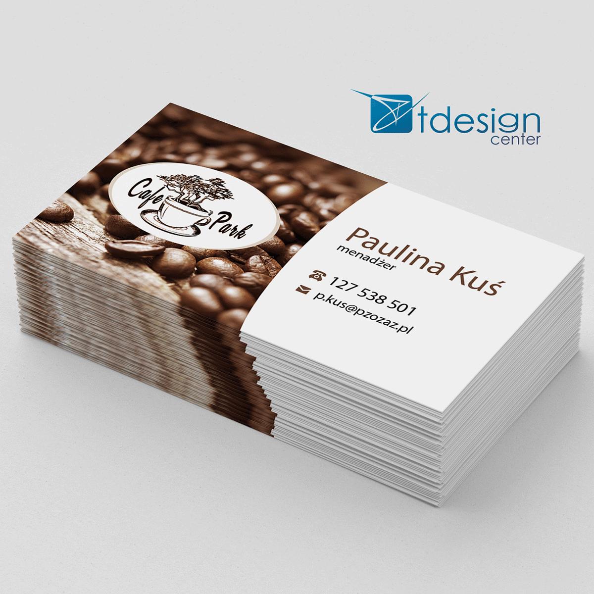 Wizytówki 90x50mm, projekt + druk, realizacja dla CafePark