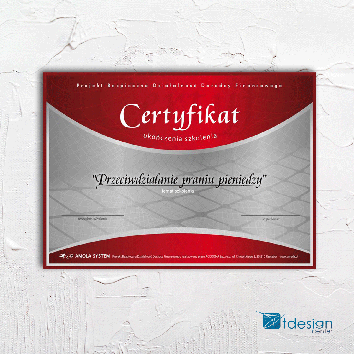 Certyfikat 189x250mm, projekt