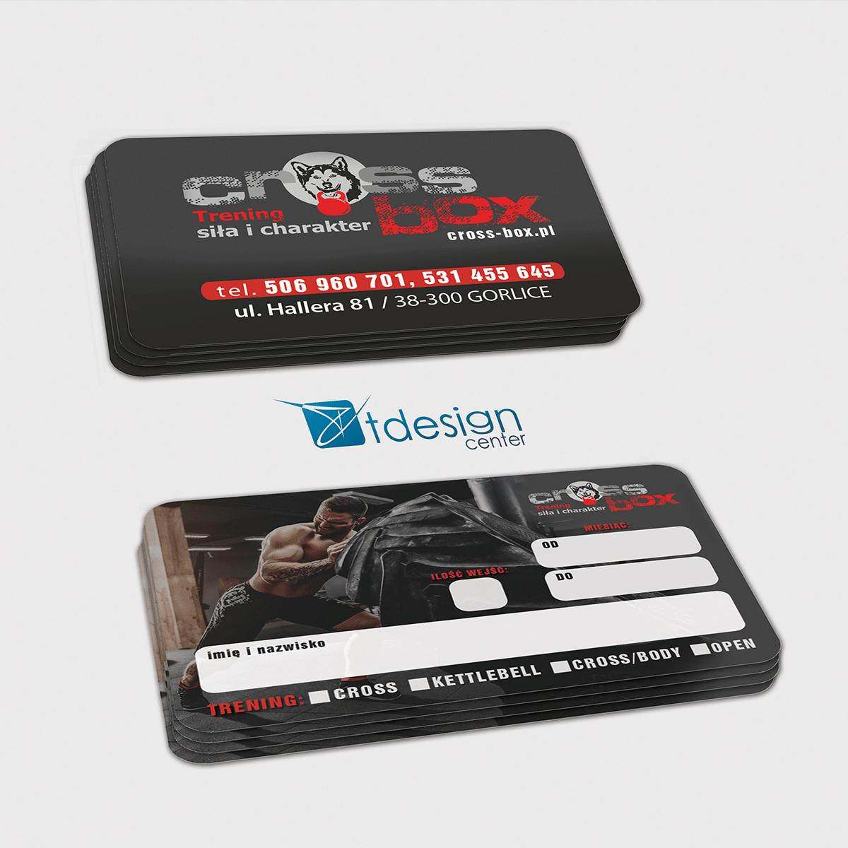 Karty biznesowe 85x54mm, projekt + druk, realizacja dla klubu sportowego Cross Box Gorlice