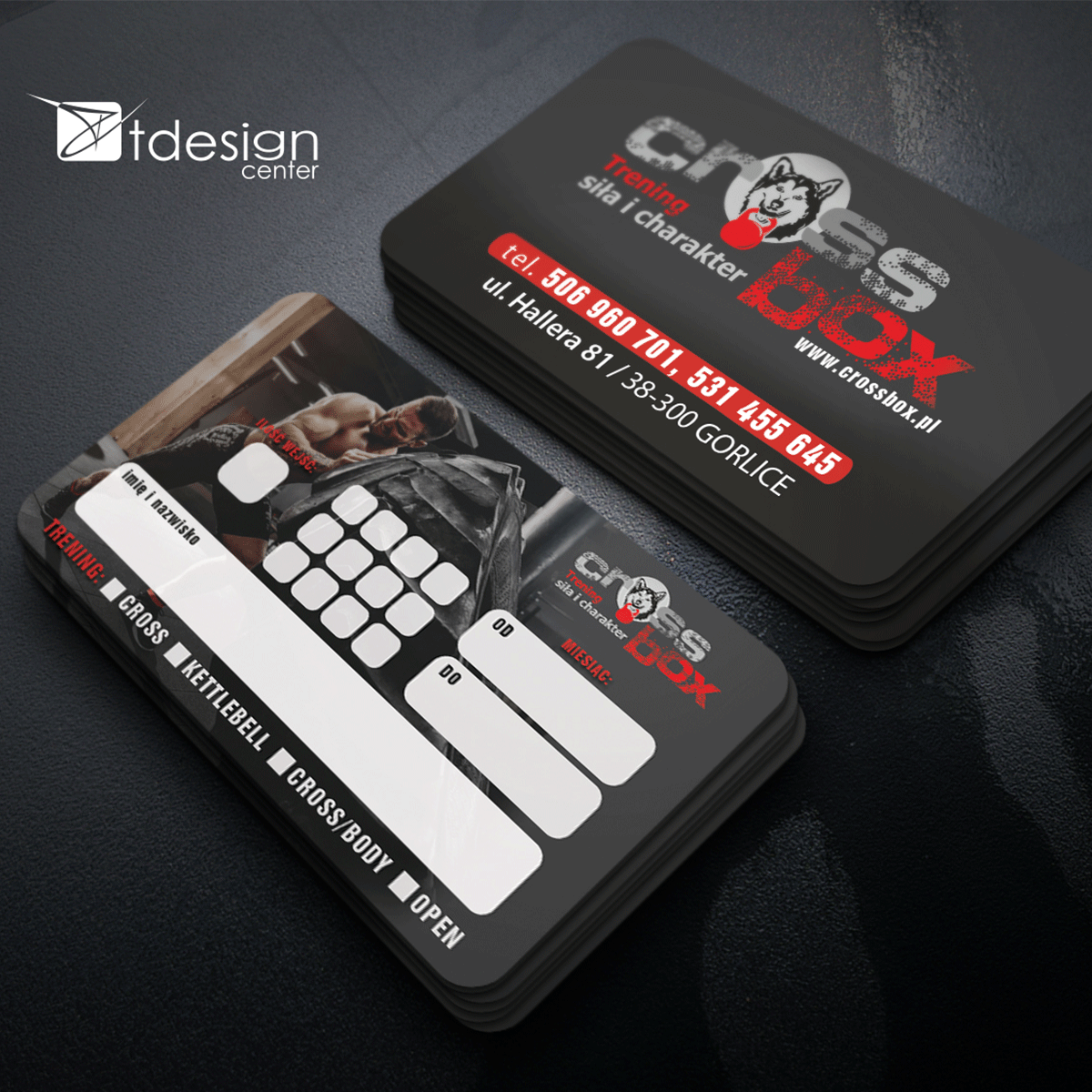 Karta 85x54mm (karnet) - projekt + druk, realizacja dla klubu sportowego Cross Box Gorlice