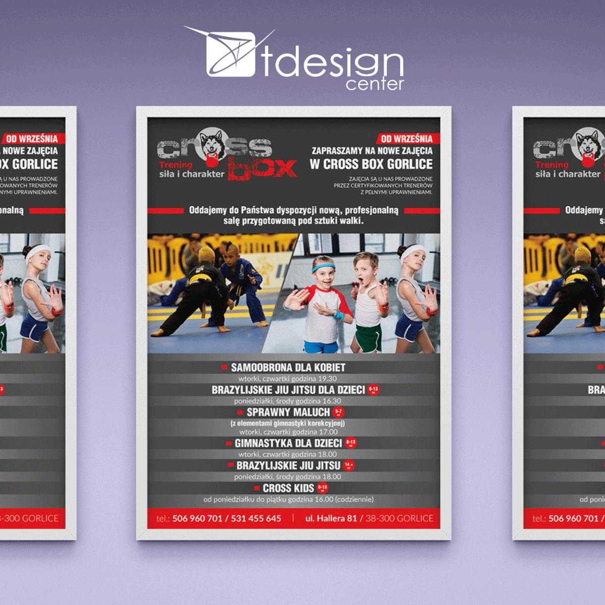 Plakat A3, projekt + druk, realizacja dla klubu sportowego Cross Box Gorlice