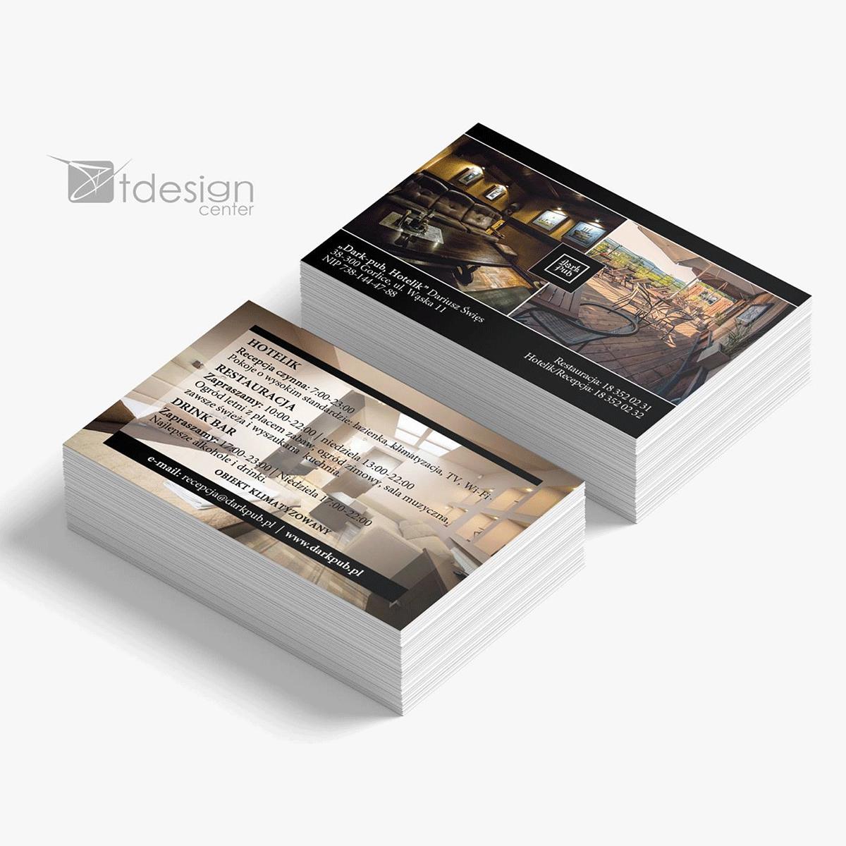 Wizytówka 85x55mm, projekt + druk, realizacja dla restauracji Dark Pub w Gorlicach