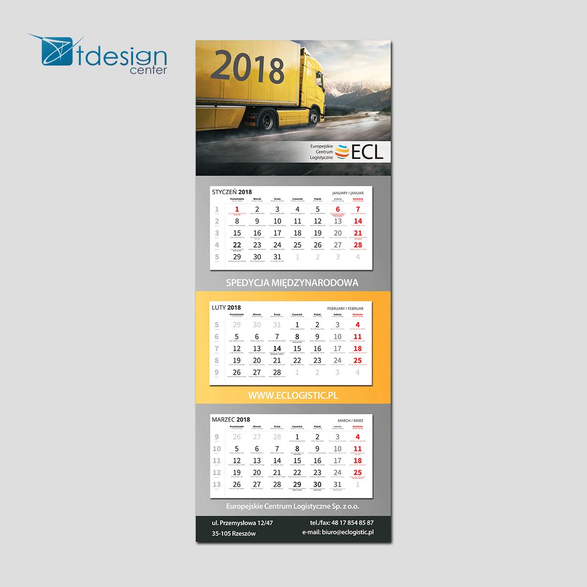 Kalendarz trójdzielny - projekt + druk