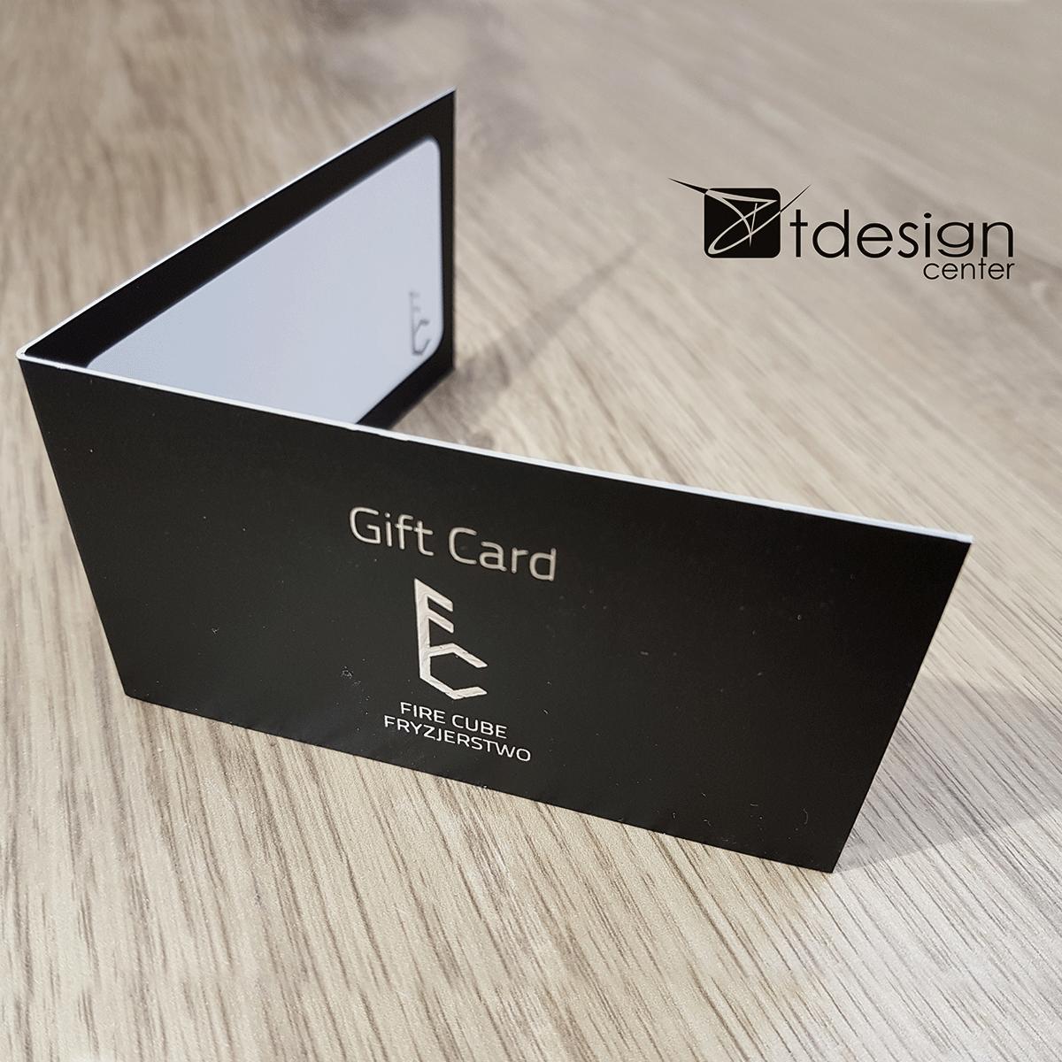Gift Cards z dodatkowym uszlachetnieniem LiquidMetal SILVER, projekt i druk - realizacja dla salonu fryzjerskiego Fire Cube