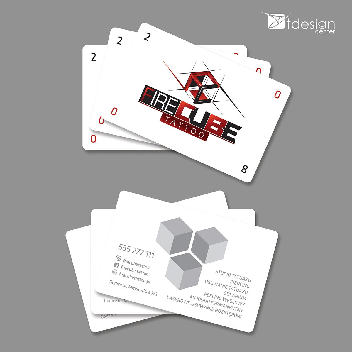 Karty biznesowe 85x54mm, projekt + druk zrealizowany dla Fire Cube Tattoo