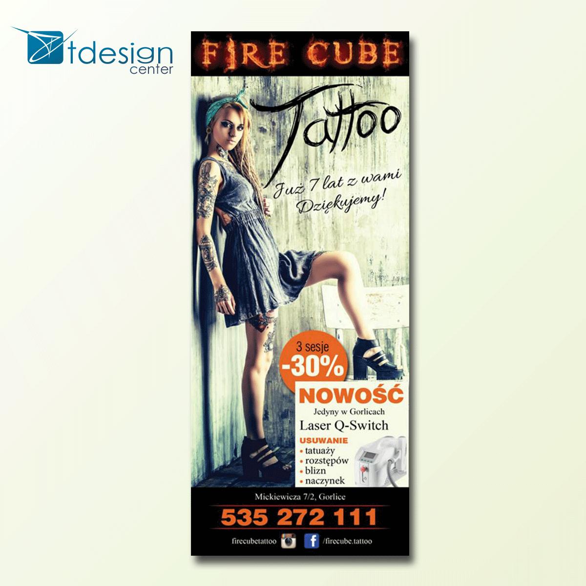 Grafika wykonana dla firmy Fire Cube Tattoo