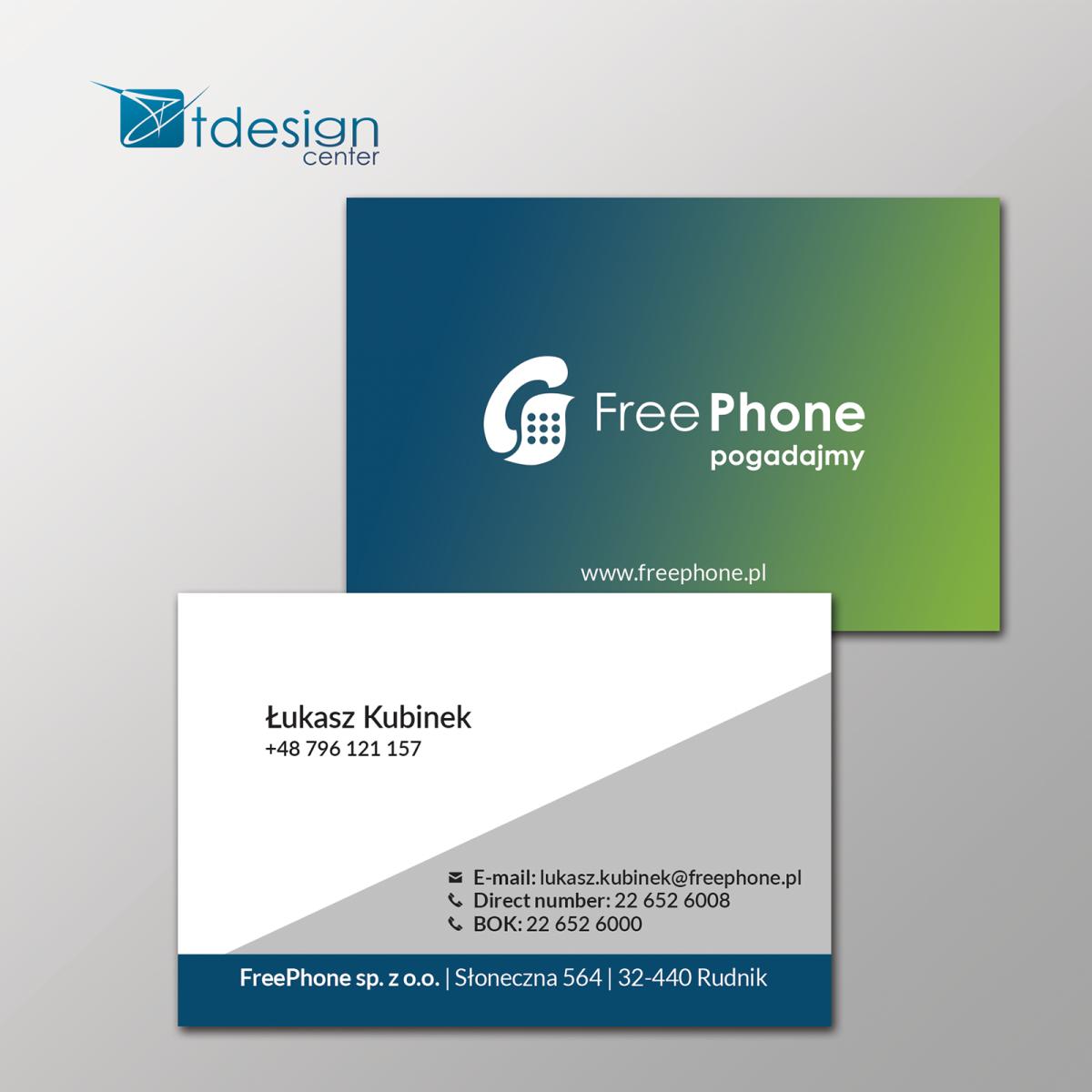 Wizytówki 85x55mm - projekt +druk - realizacja dla FreePhone