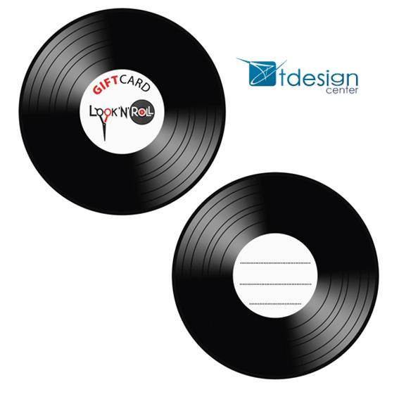 Gift Card 9x9cm, projekt+druk wykonany dla salonu fryzjerskiego Look`N`Roll