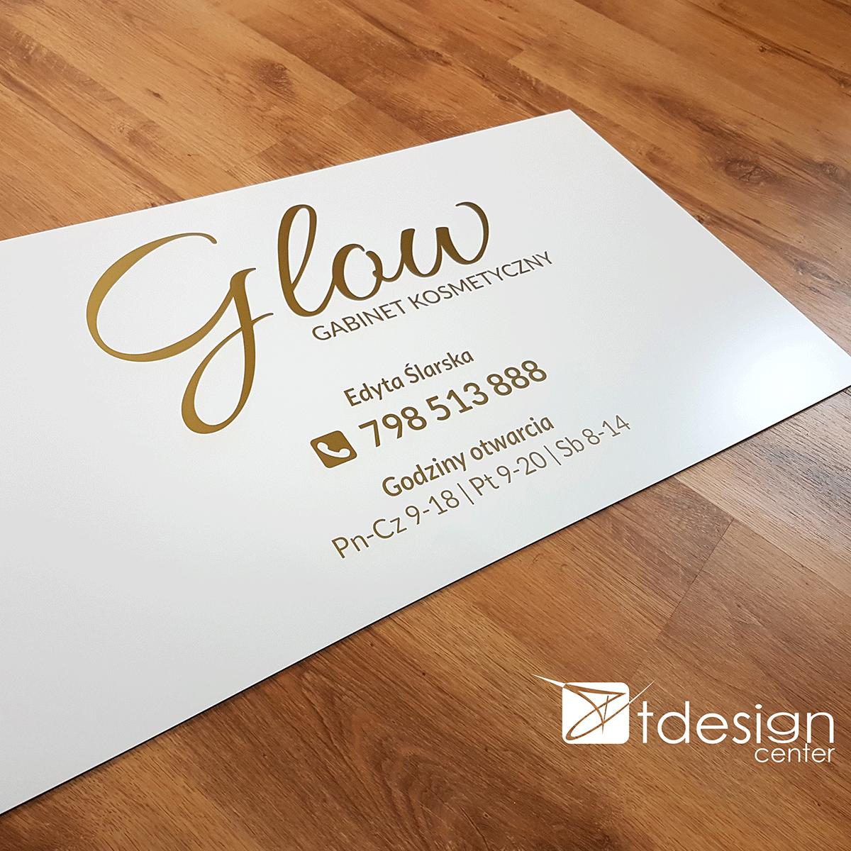 Tablica DIBOND 75x40cm, folia ploterowa złota - projekt + realizacja dla salonu kosmetycznego Glow