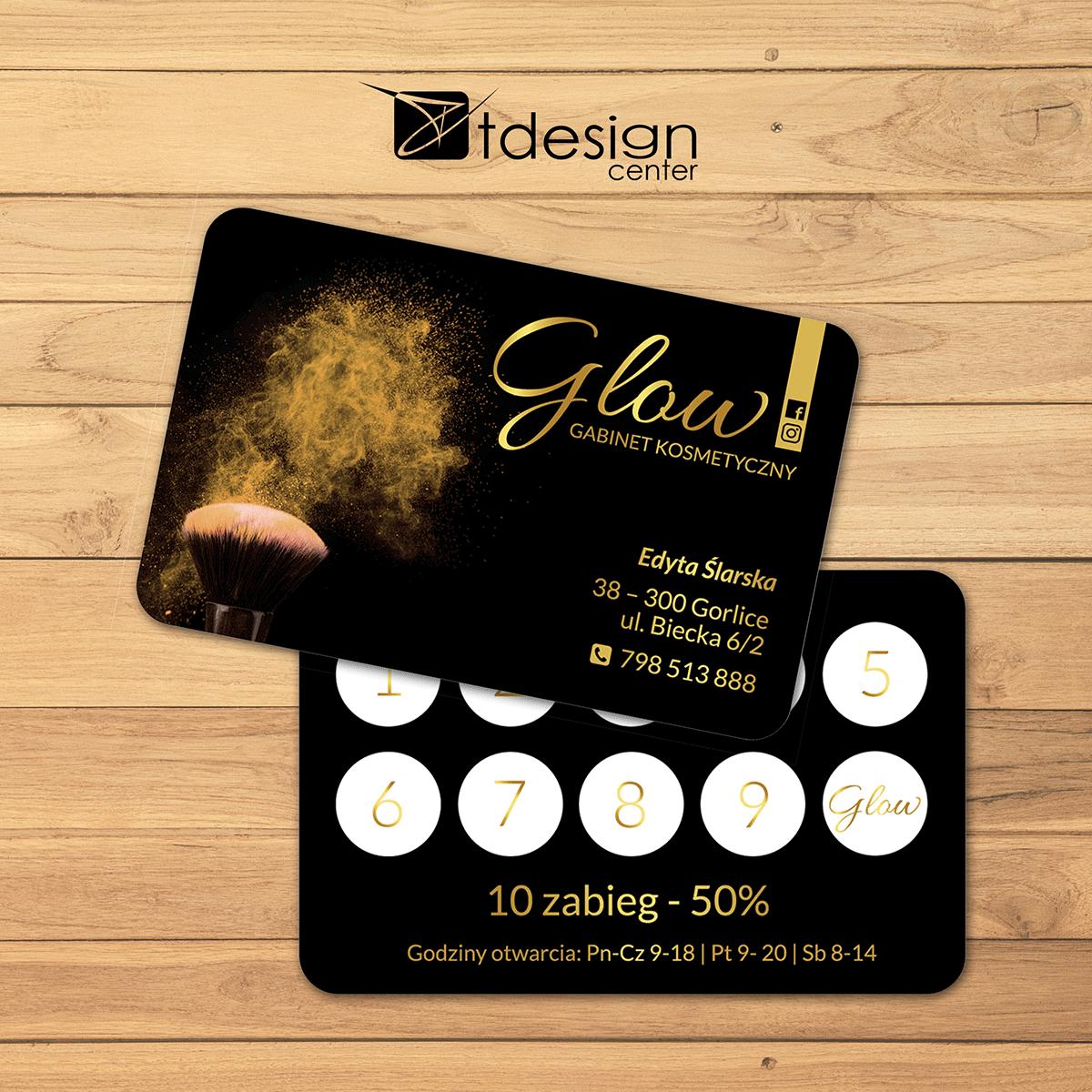 Karta Stałego Klienta 85x54mm, projekt + druk, realizacja dla gabinetu kosmetycznego Glow