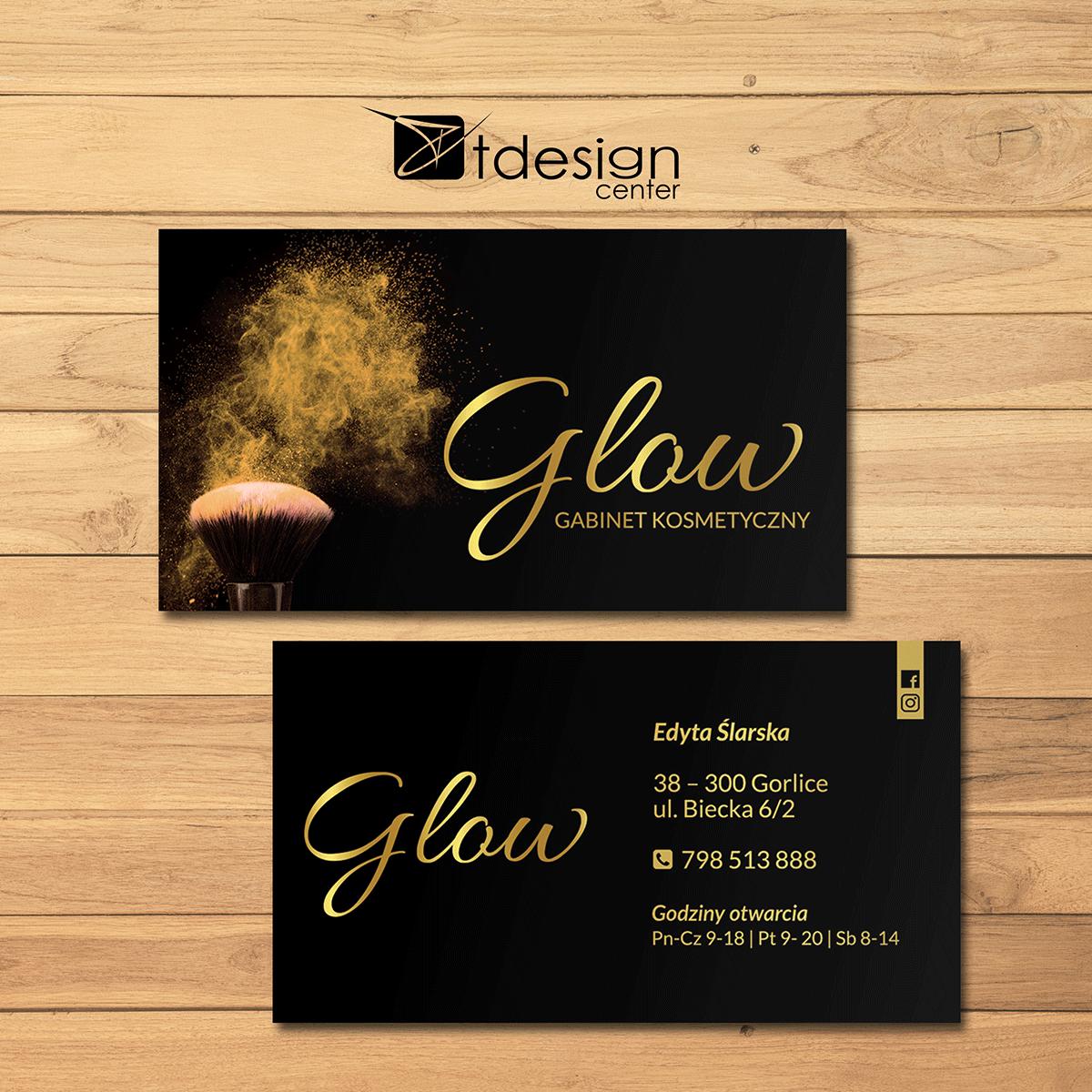 Wizytówka 90x50mm, projekt + druk, realizacja dla gabinetu kosmetycznego Glow