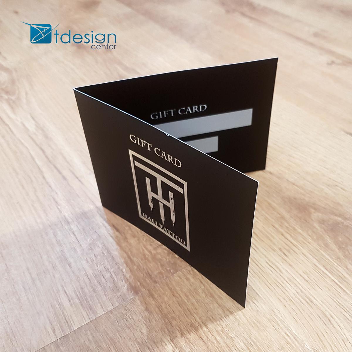 Gift Cards - projekt i druk - realizacja dla studio tatuażu Hali Tatto -> przód