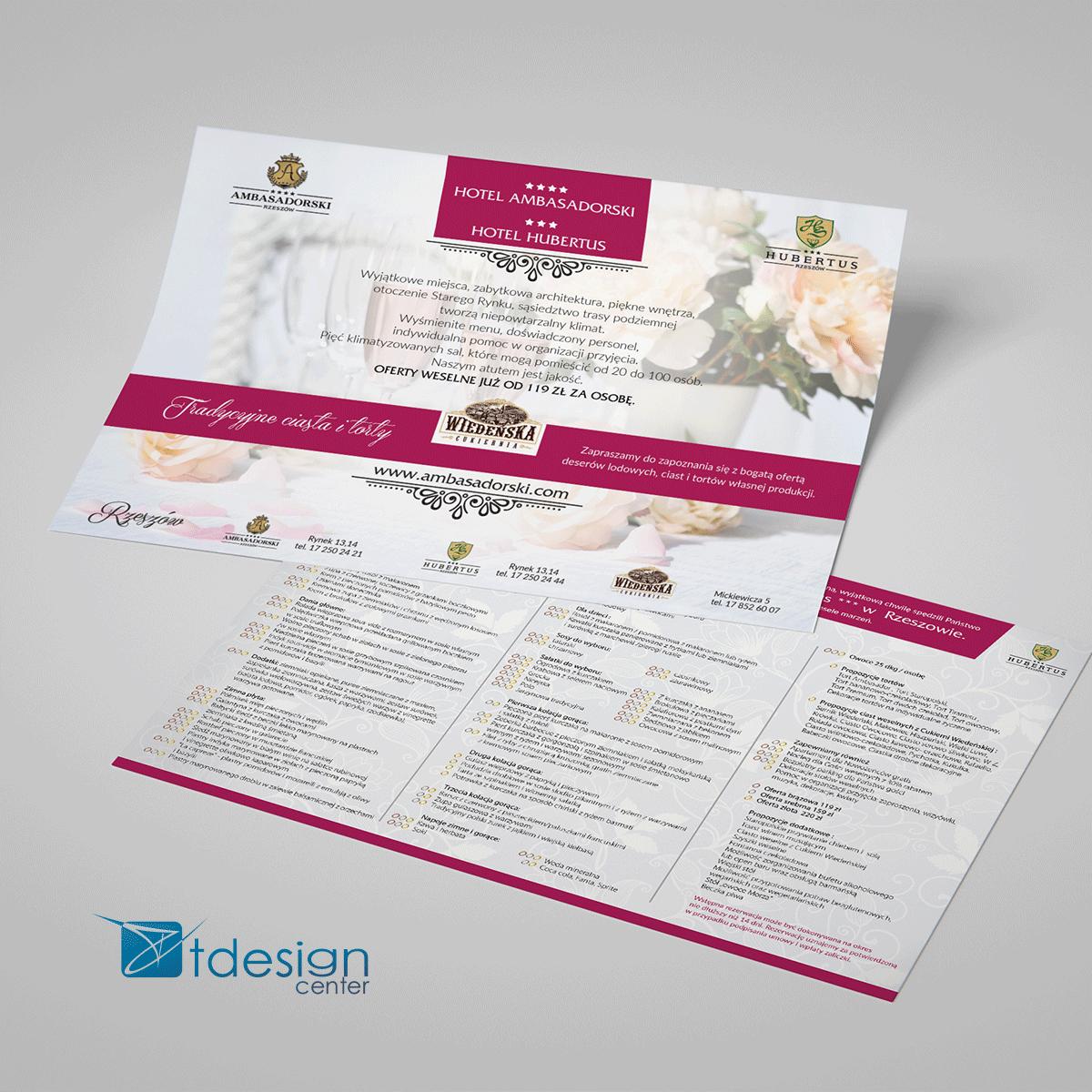 """Ulotka A4 """"menu"""" prrojekt + druk, realizacja dla Hotelu Amasadorskiego"""