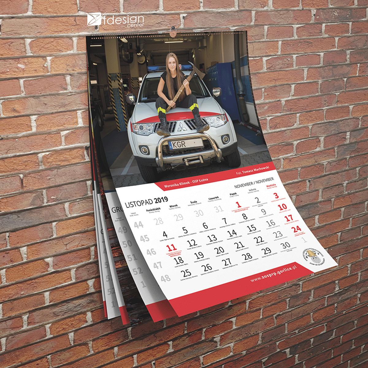 Kalendarz ścienny A3, spiralowany 2019, projekt + druk