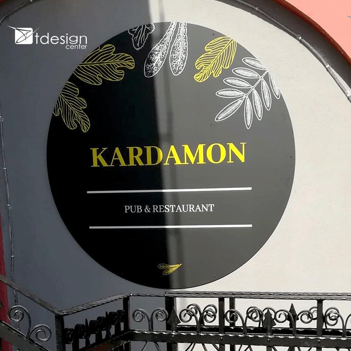 Tablica DIBOND 150x150cm, projekt + realizacja dla restauracji Kardamon