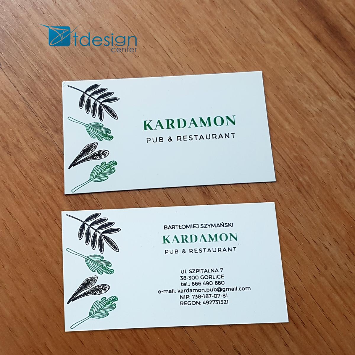 Wizytówki 90x50mm - druk wykonany dla restauracji Kardamon