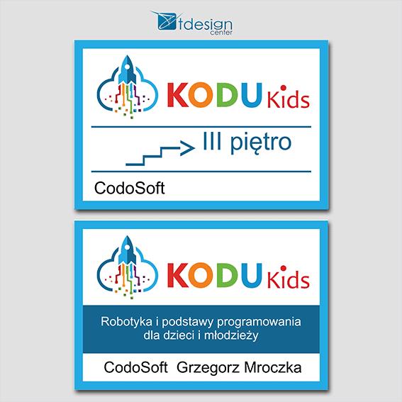 Tabliczki PCV, projekt + druk, realizacja dla KoduKids