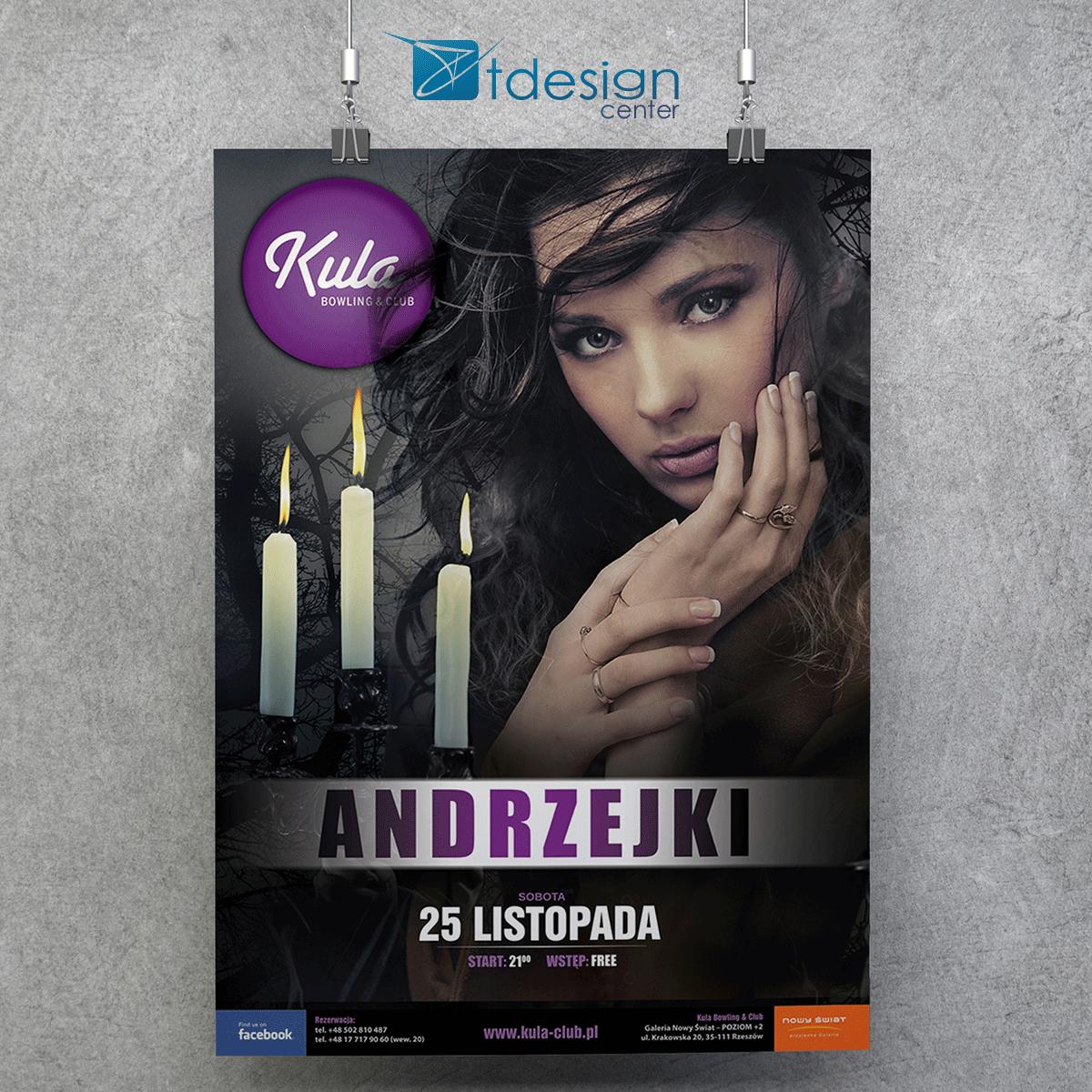 """Plakat B1 """"Andrzejki"""" - projekt zrealizowany dla kręgielni Kula"""