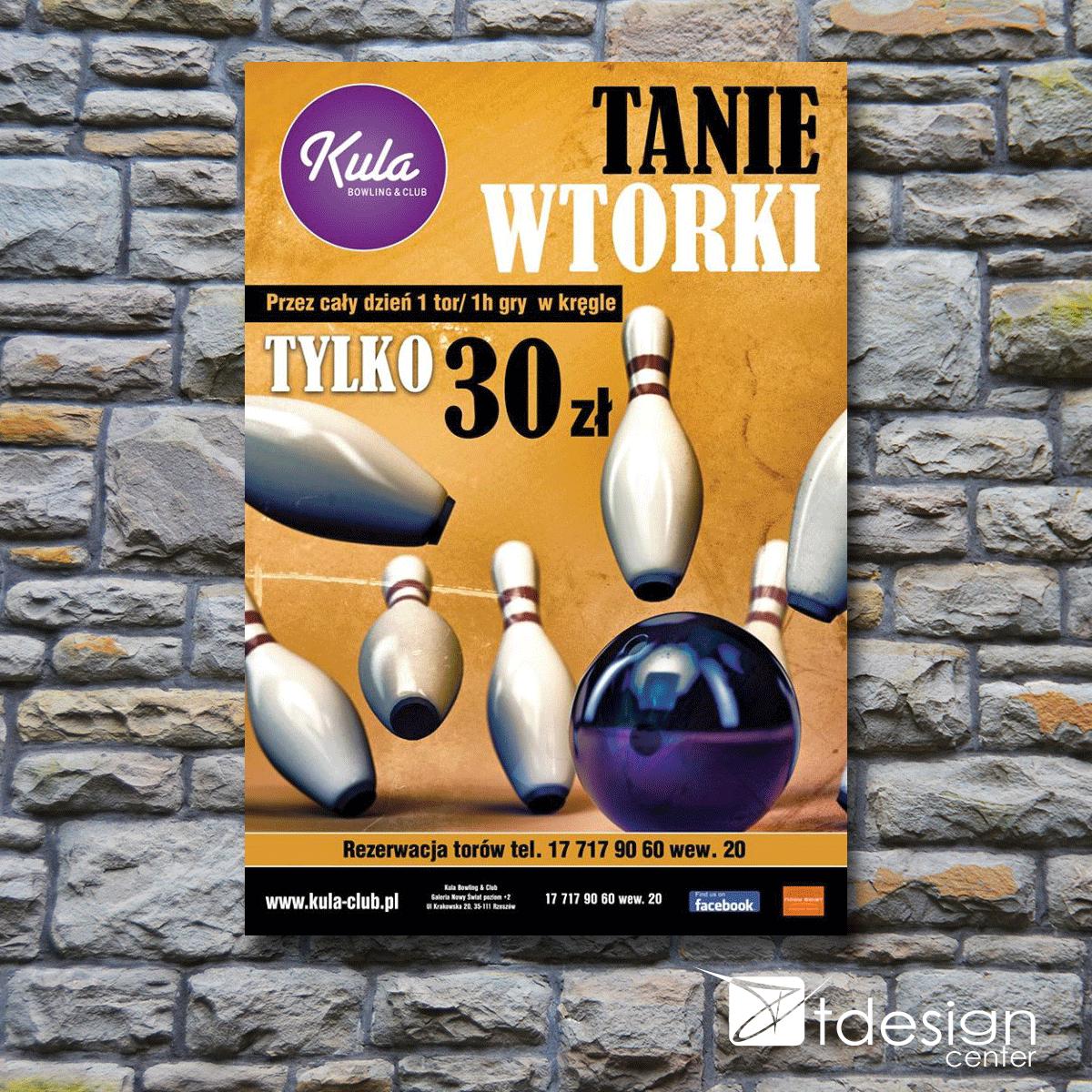 Plakat 640x930mm, projekt wykonany dla kręgielni Kula w Rzeszowie