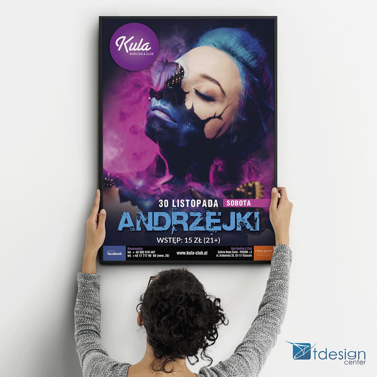 """Plakat B1 """"Andrzejki"""" - projekt + druk, realizacja dla kręgielni Kula"""