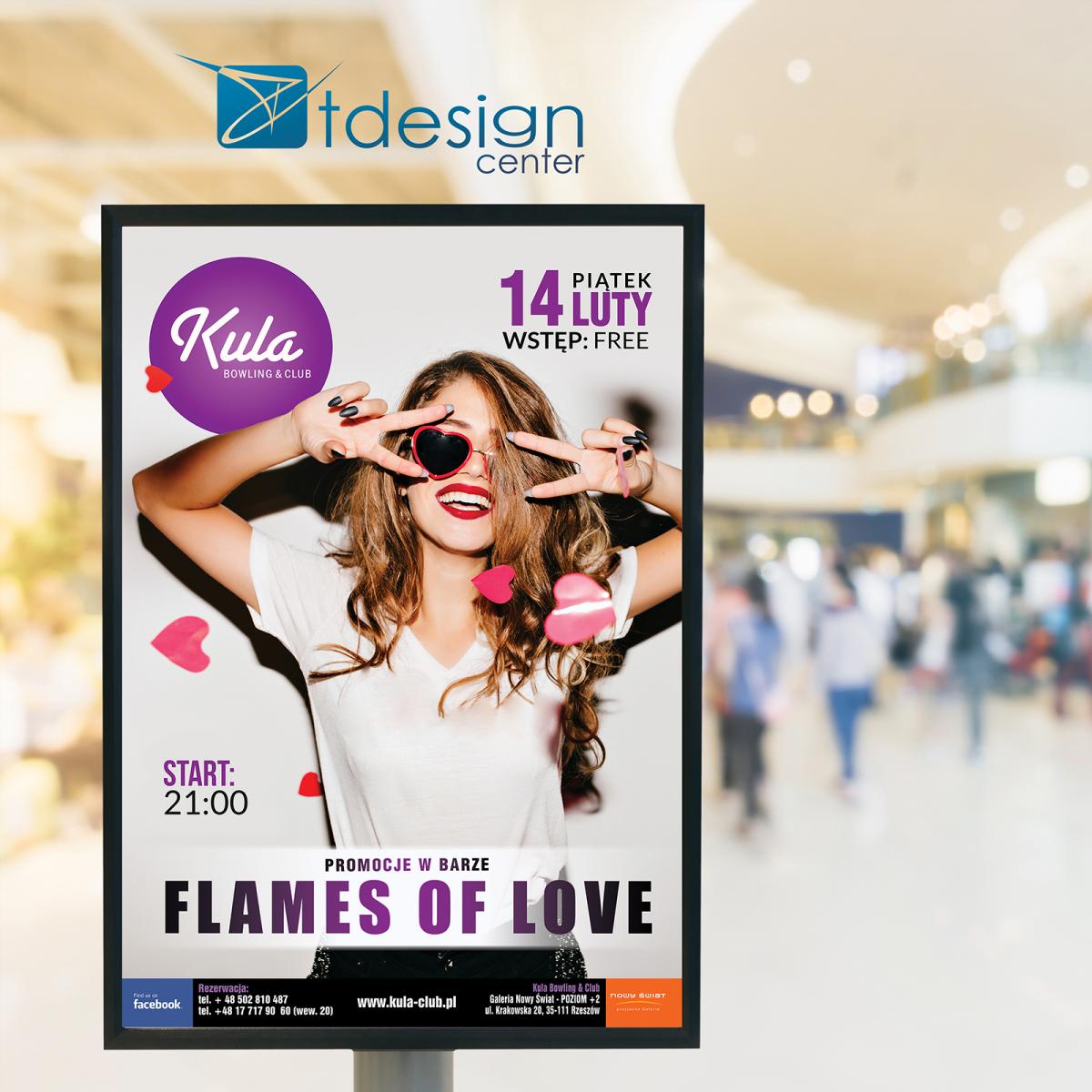 Plakat B1 Flames of Love - projekt wykonany dla kręgielni Kula