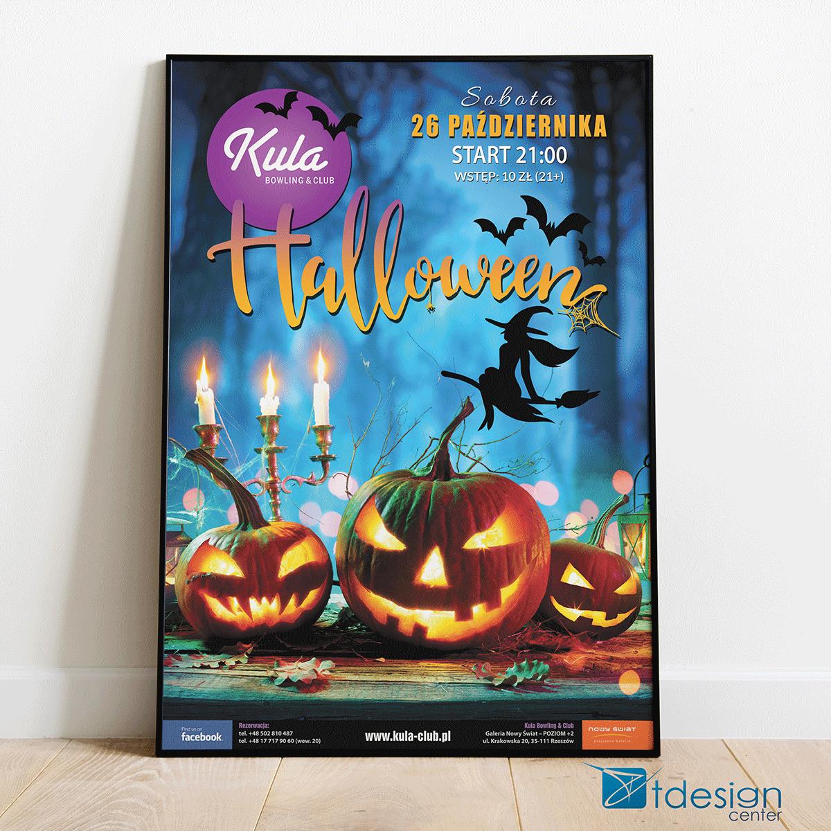 "Plakat B1 ""Halloween"" - projekt + druk, realizacja dla kręgielni Kula"