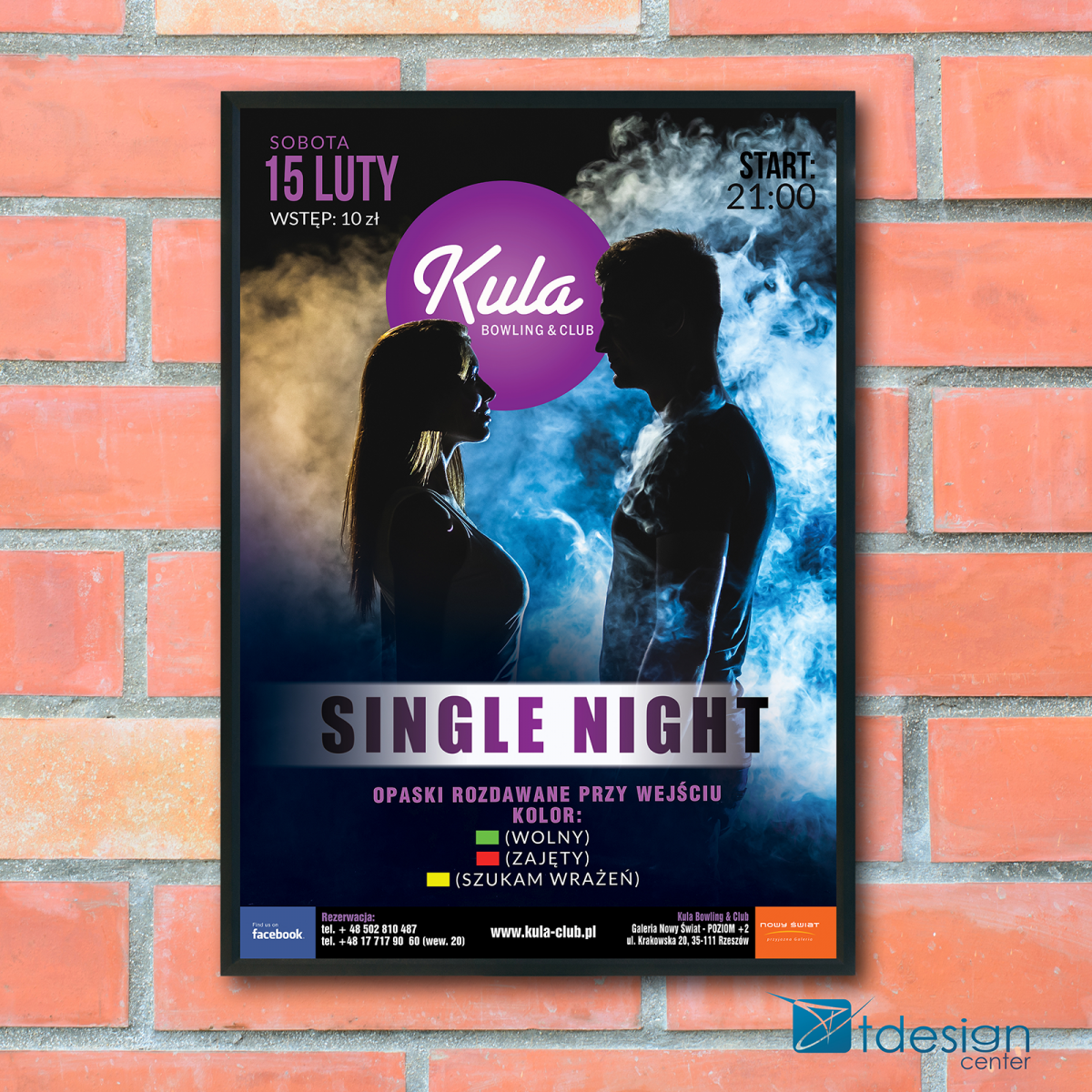 Plakat B1 Single Night - projekt wykonany dla kręgielni Kula