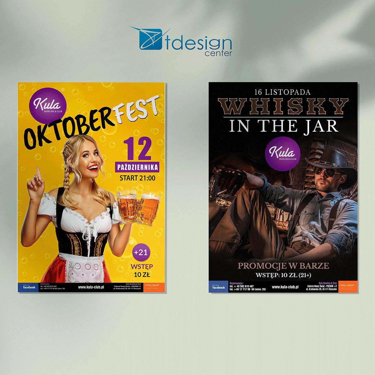 """Plakat B1 """"Oktoberfest"""" - projekt + druk, realizacja dla kręgielni Kula"""