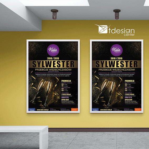 Plakaty B1 Sylwester 2019, projekt + druk, realizacja dla kręgielni Kula w Rzeszowie