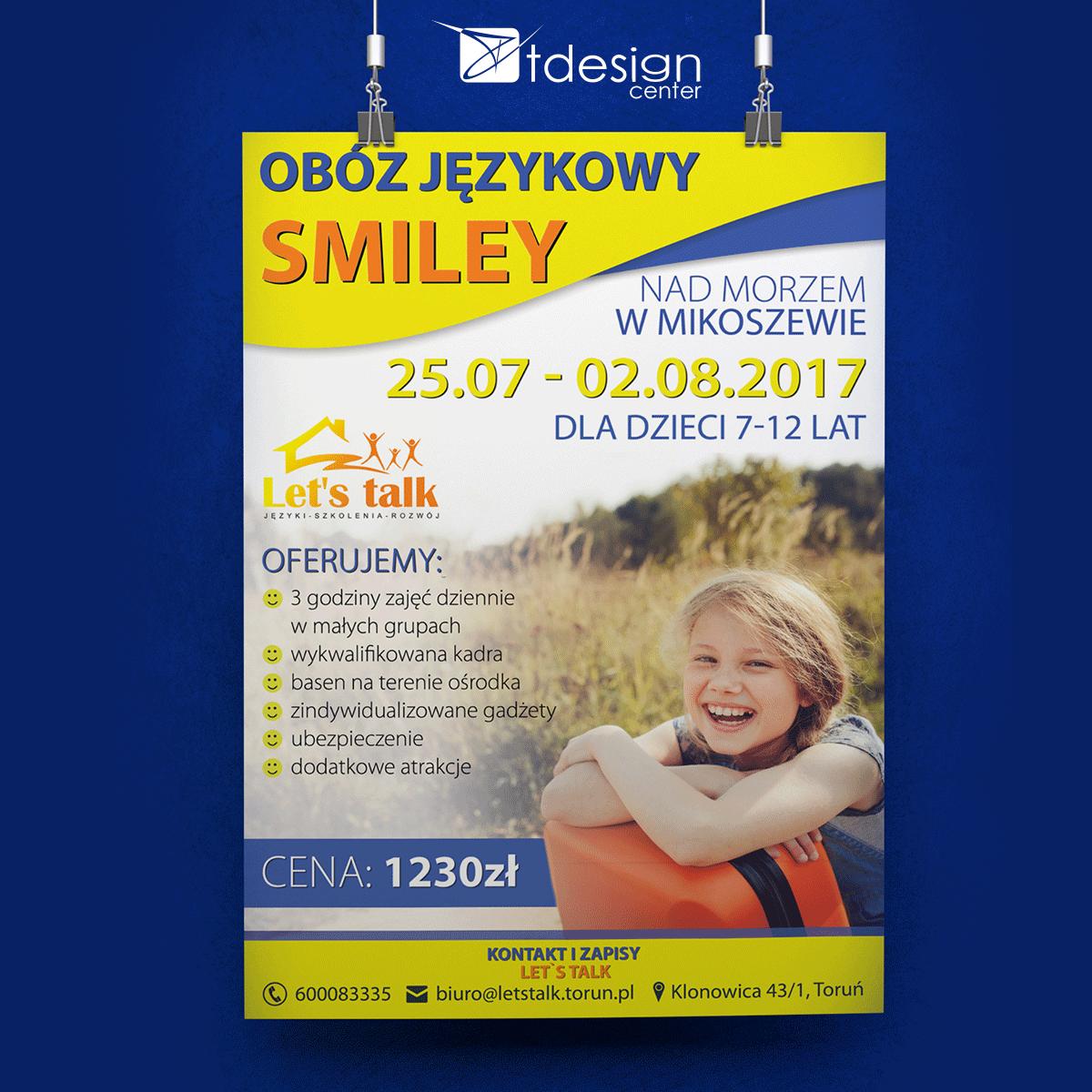 Plakaty A3, projekt + druk, realizacja dla szkoły językowej Let's Talk