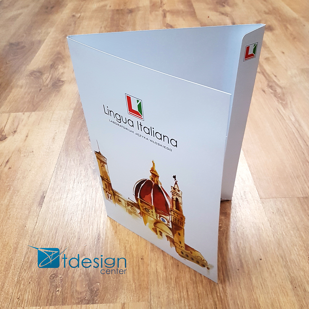Teczka A4 - projekt + druk -> przód Realizacja dla szkoły językowej Lingua Italiana