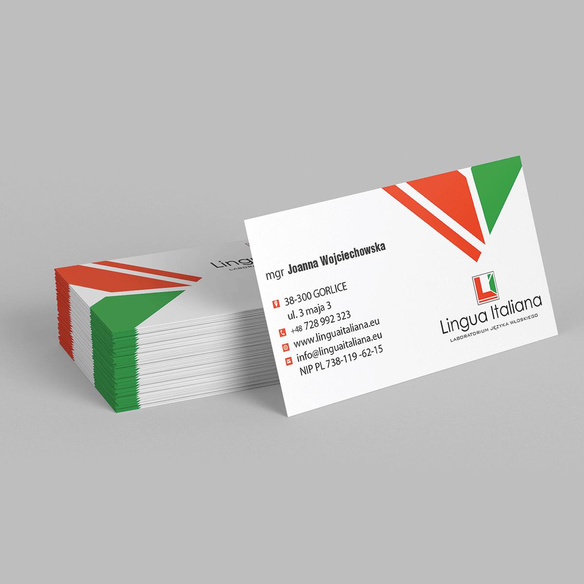 Wizytówki 90x50mm, projekt + druk - realizacja dla szkoły Lingua Italiana