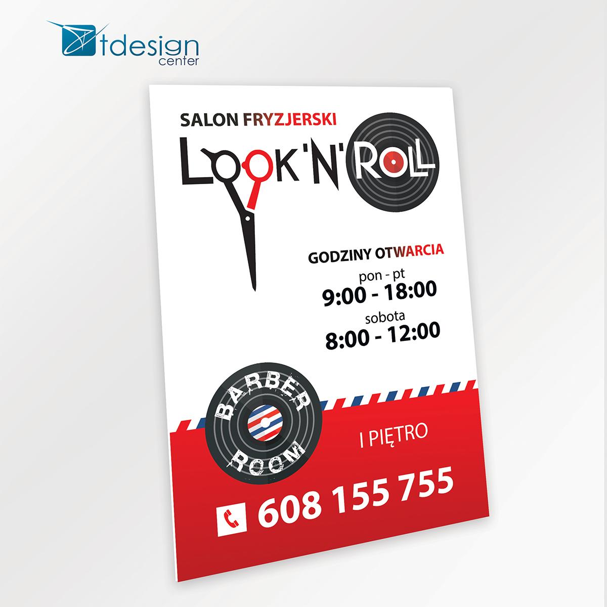 Tablica DIBOND 70x100cm - projekt +realizacja dla salonu fryzjerskiego Look'n'Roll