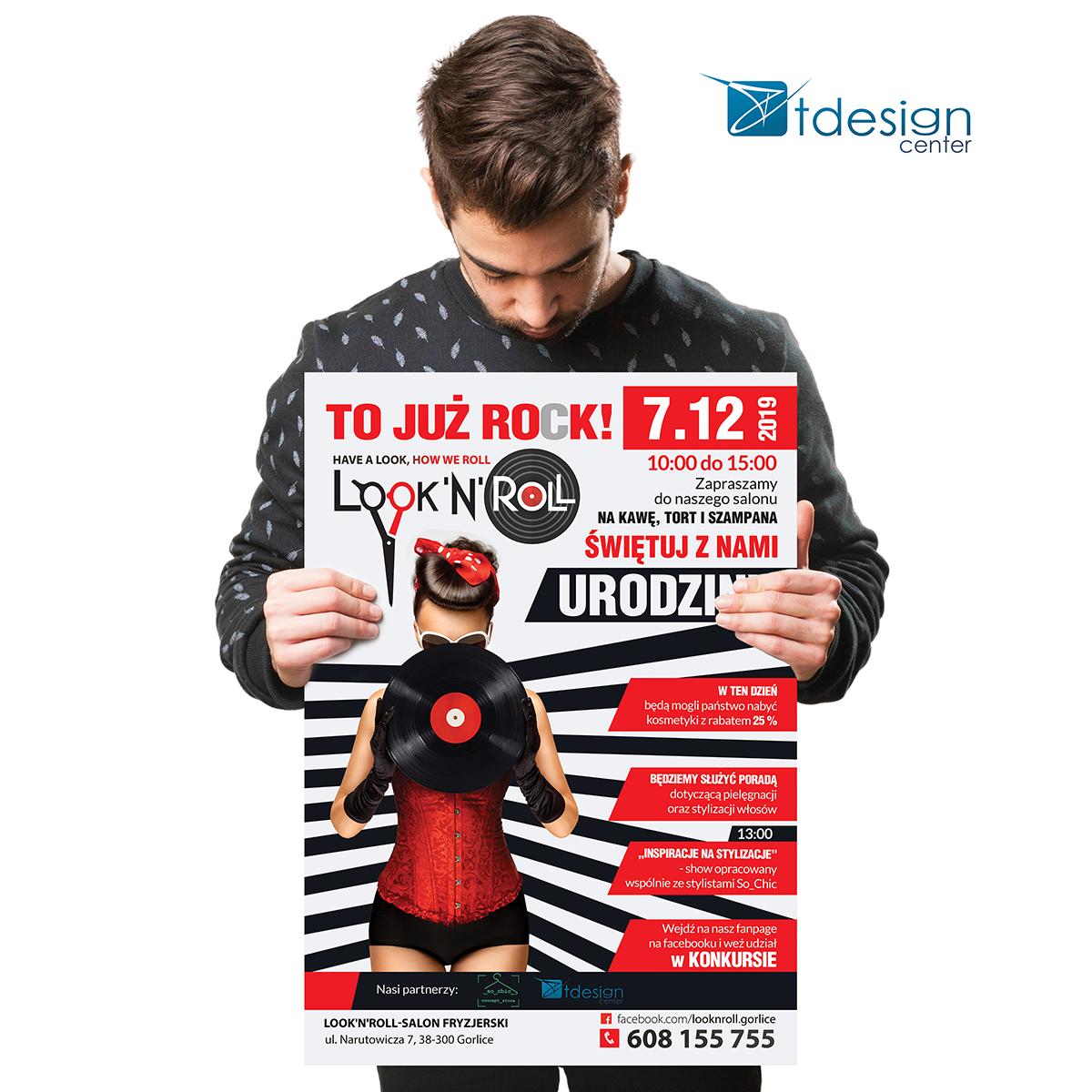 Plakat A2 - projekt + druk - realizacja dla salonu fryzjerskiego Look'n'Roll