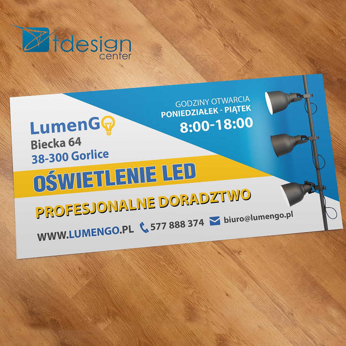 Tablica DIBOND 100x50cm - projekt + realizacja dla firmy LumenGO