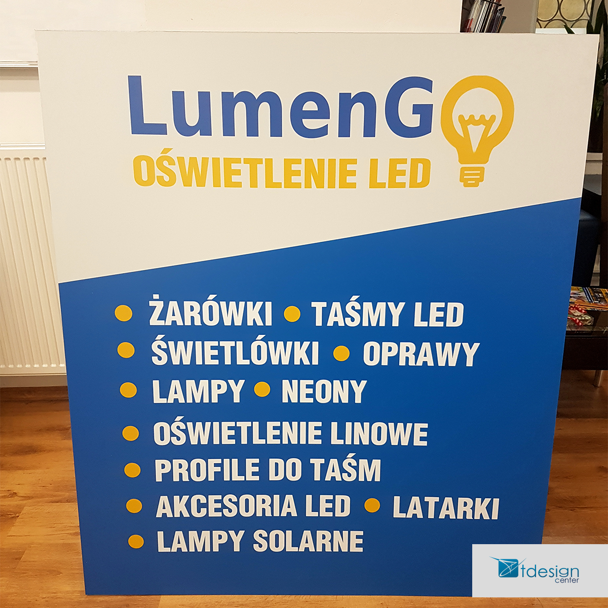 Tablica DIBOND 125x145cm - projekt +realizacja dla firmy LumenGO