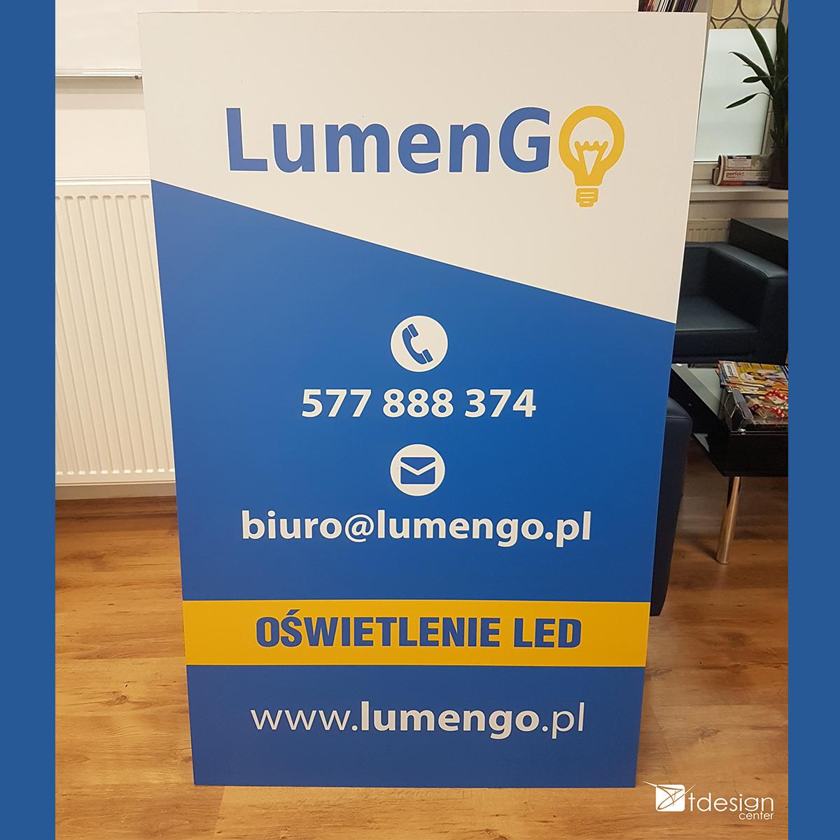 Tablica DIBOND 90x145cm - projekt + realizacja dla firmy LumenGO