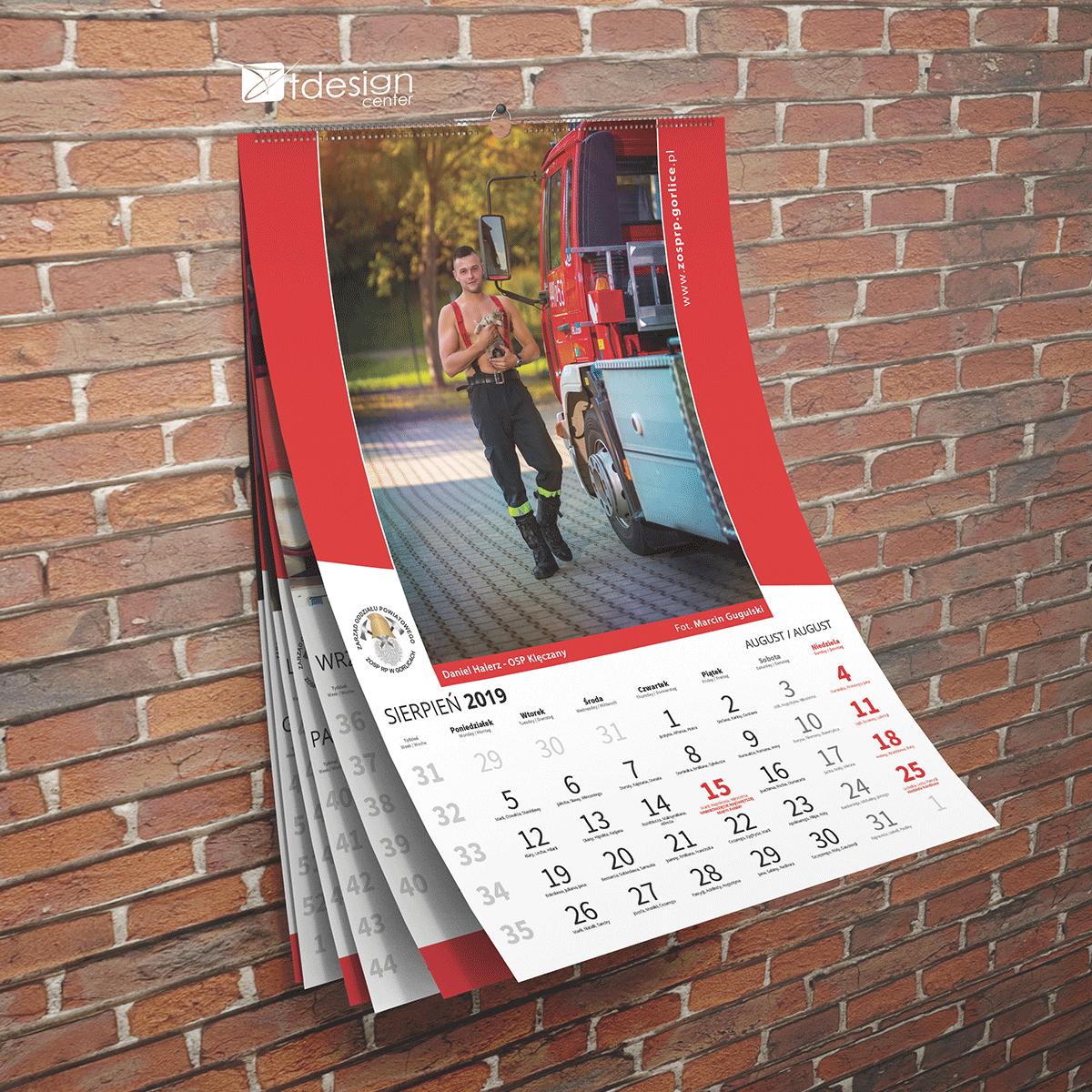 Kalendarz ścienny A3, spiralowany, 2019 rok, projekt + druk